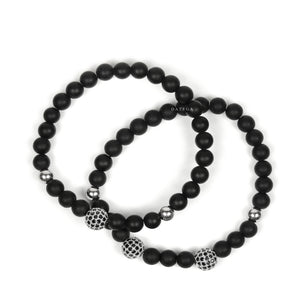 White Gold Cz Balls & Matte Onyx - Set