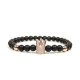 Rose Gold CZ Crown & Onyx