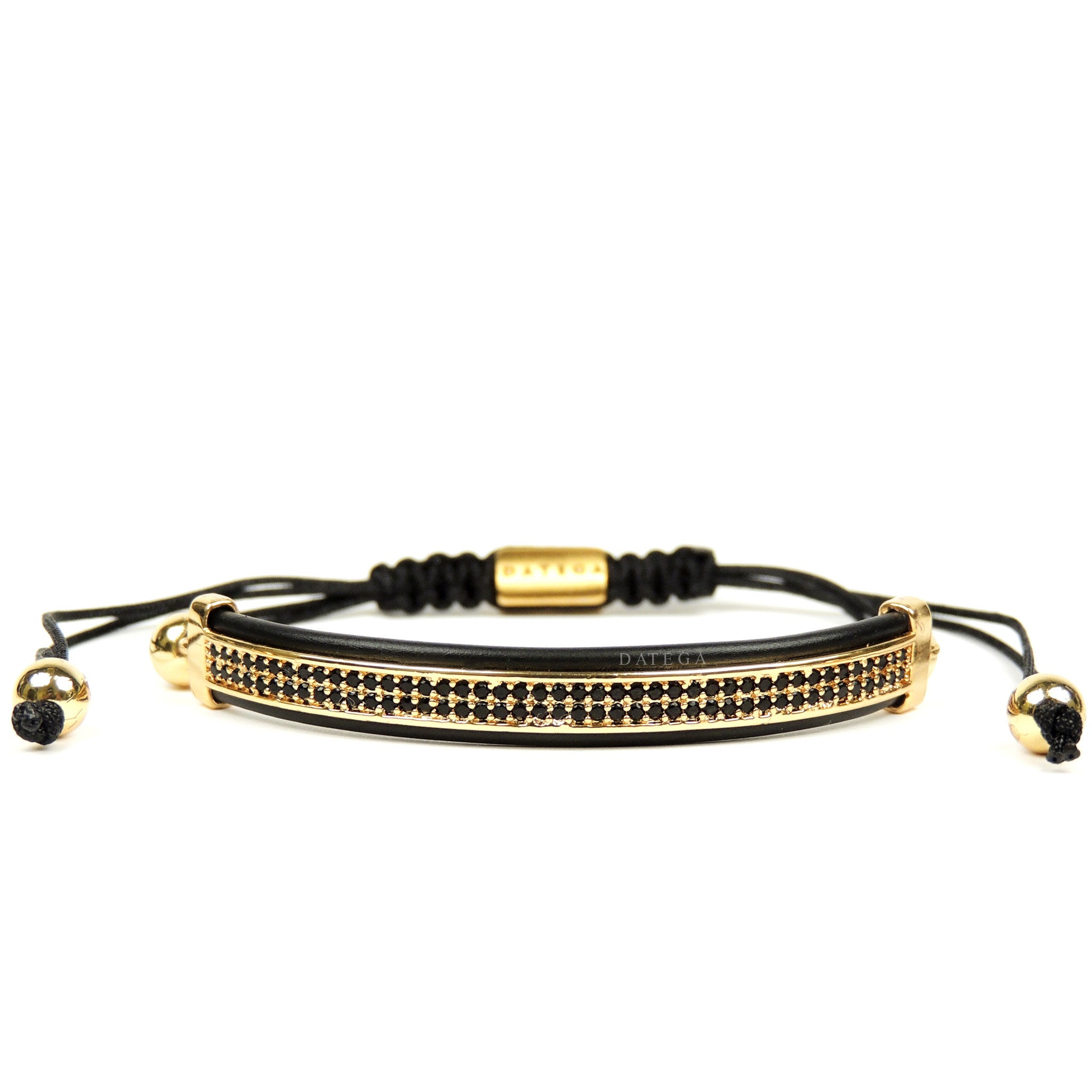 Yellow Gold Black Cz High End Bracelet