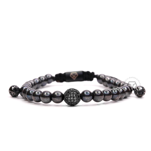 Black Cz Ball & Hematite