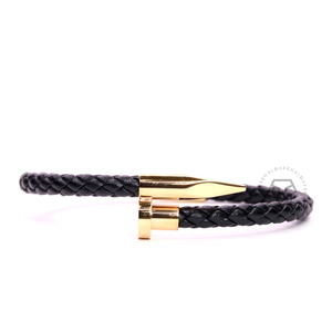 Nail Yellow Gold Braided Black Leather