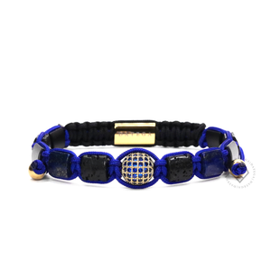 Square Lava, Lapis Lazuli & Yellow Gold Blue Cz Ball