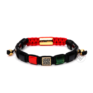 Red Jade, Green Tiger Eye & Gray Stingray - Black Rope