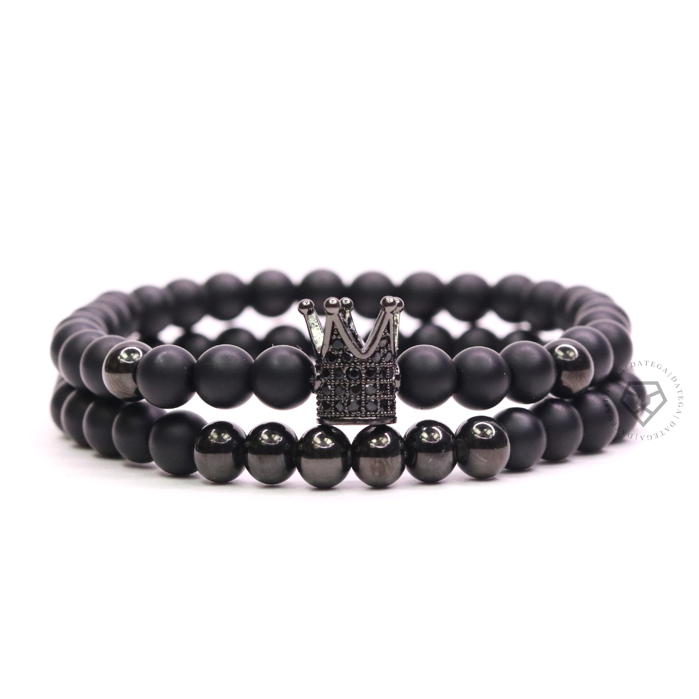 Rhodium Cz Crown, Spheres & Matte Onyx - Set