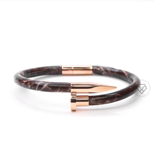 Nail Rose Gold Dark Brown Marble Leather