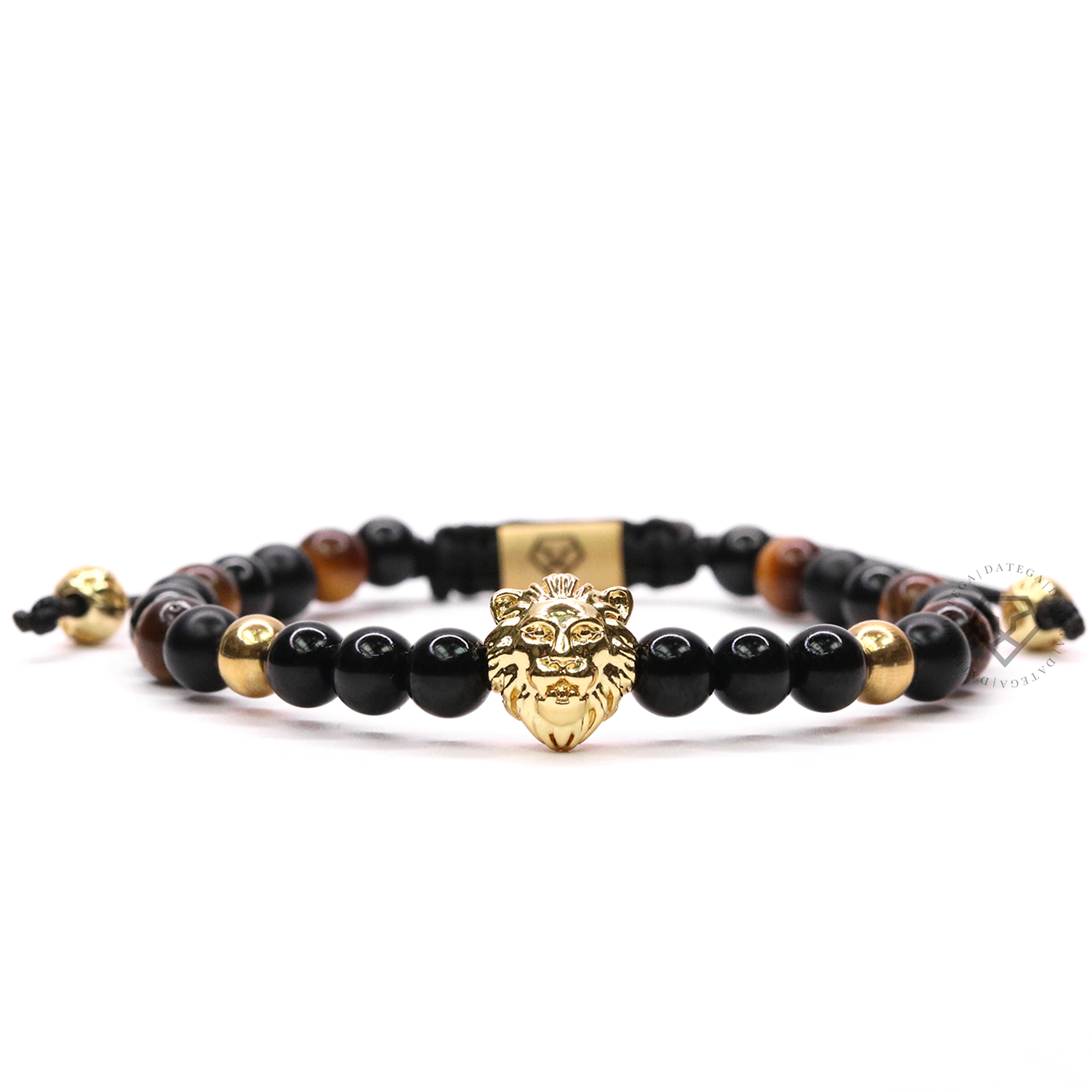 Lion Yellow Gold , Onyx & Tiger Eye