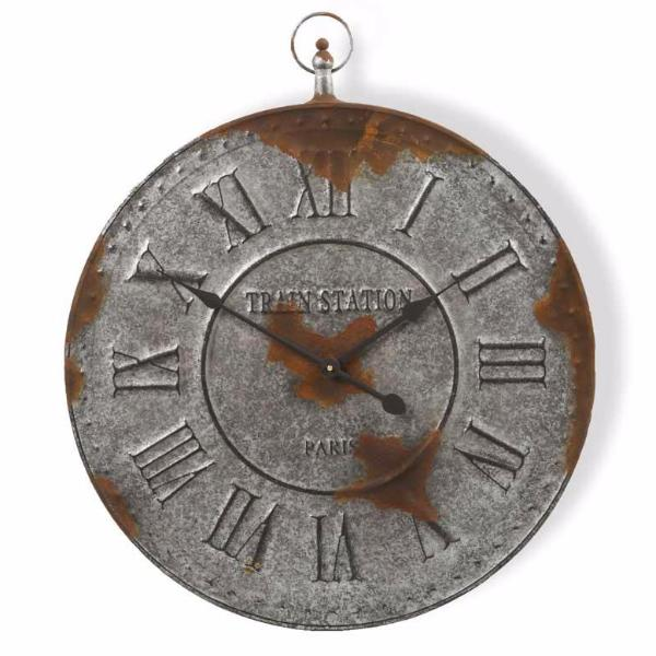 24 Inch Rustic Finish Galvanized Wall Clock