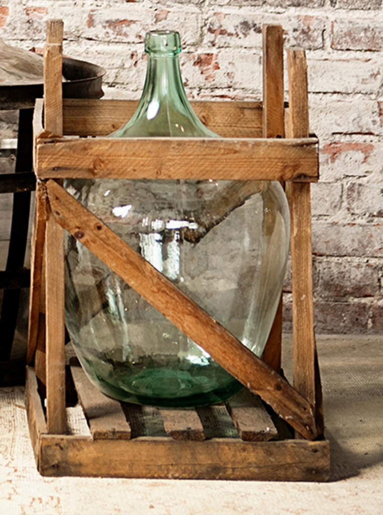 The Eliza demijohn in crate