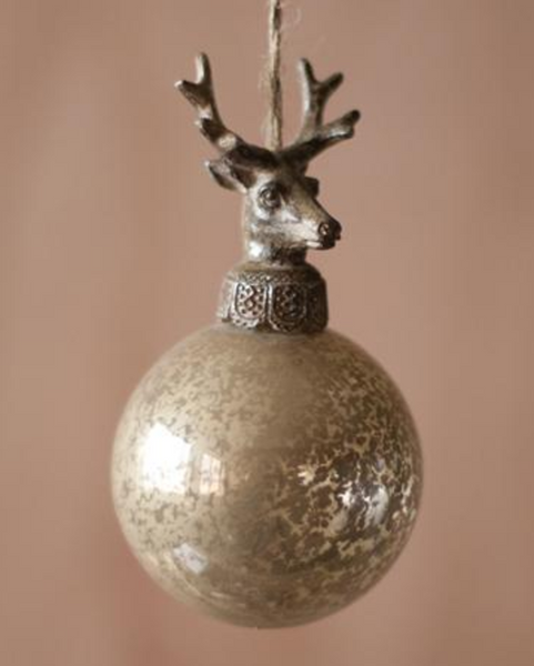 Set of 6 Glass Ball Deer Head Ornament