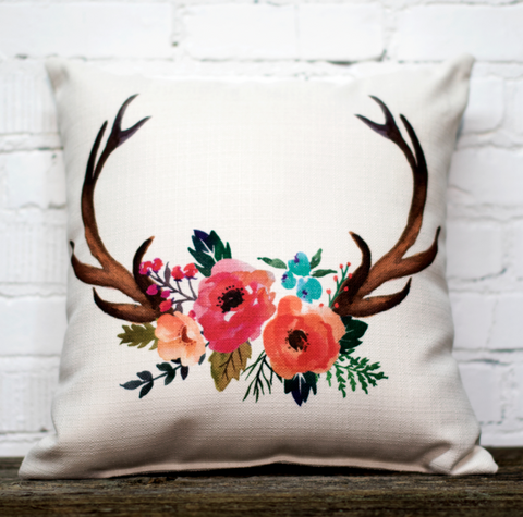 Floral Antlers Pillow