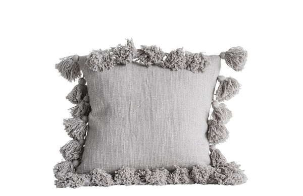 Gray Tassel Pillow