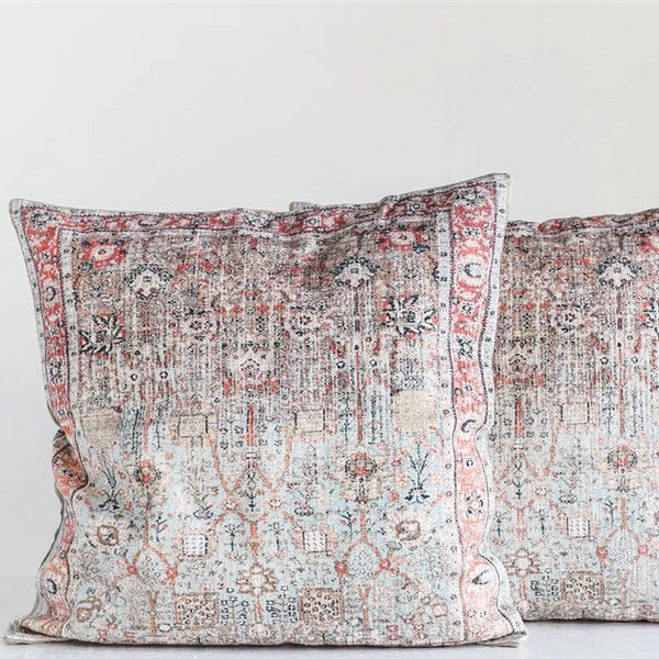 "24"" Square Cotton Distressed Print Pillow, Multi Color"