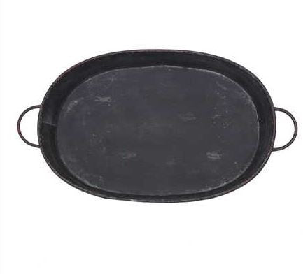 The Jed Oval Distressed Metal Tray