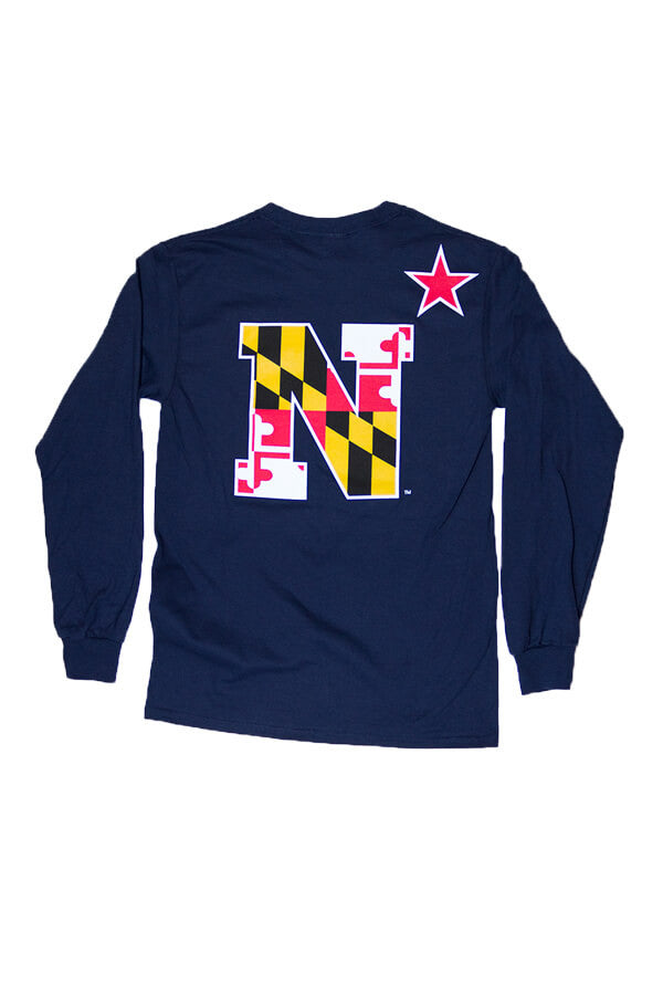 USNA MD Flag N-Star Long Sleeve T-Shirt (Navy) - Annapolis Gear - 1