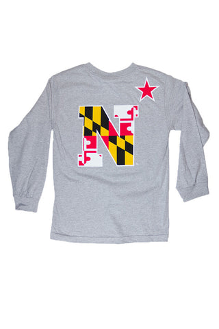 USNA MD Flag N-Star Longsleeve T-Shirt (Grey) - Annapolis Gear - 1