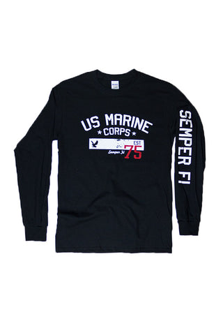 U.S. MARINES CORPS Est. 1775 Long Sleeve T-Shirt (black) - Annapolis Gear