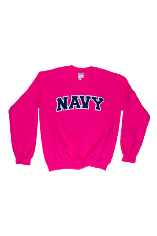 NAVY Arch Applique Crewneck Sweatshirt (hot pink) - Annapolis Gear