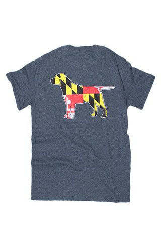 MD Flag Labrador T-Shirt (dark heather) - Annapolis Gear
