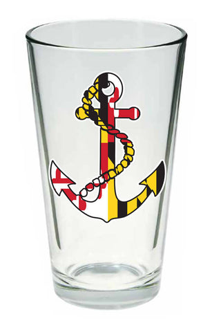 MD Flag Anchor Pint Glass - Annapolis Gear