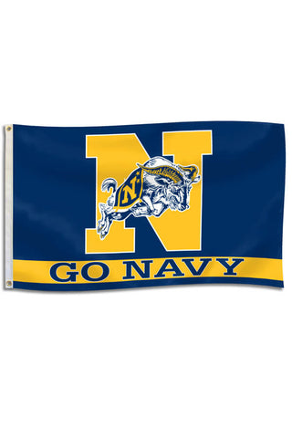 "USNA Charging Goat ""GO NAVY"" Flag (3'x5') - Annapolis Gear"