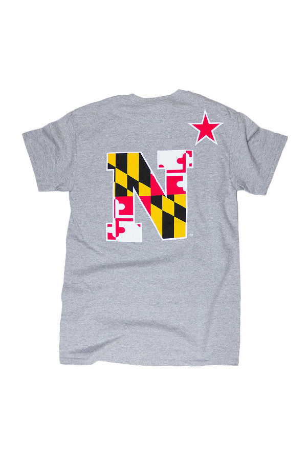USNA MD Flag N-Star T-Shirt (grey) - Annapolis Gear - 1