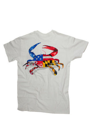 MD Pride USA/MD Flag Crab T-Shirt (white) - Annapolis Gear - 1