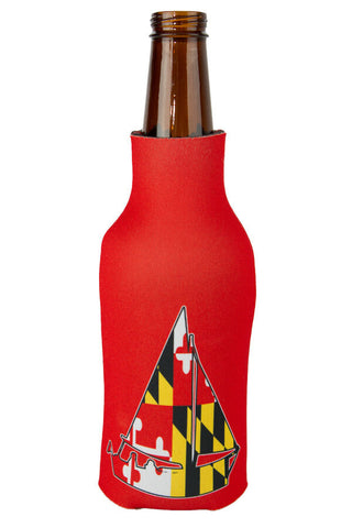 MD Flag Sailboat Bottle Koozie (red) - Annapolis Gear