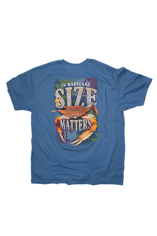 "MD Crab ""SIZE MATTERS"" T-Shirt (indigo) - Annapolis Gear"