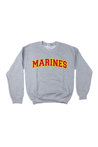 U.S. MARINES Applique Crewneck Sweatshirt (grey) - Annapolis Gear