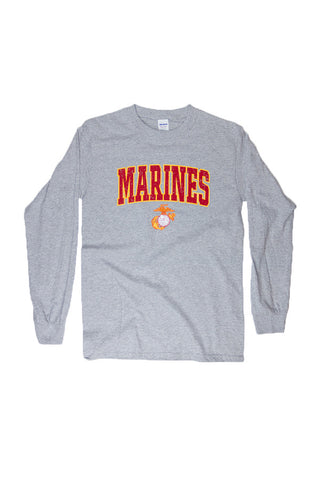 U.S. MARINES Globe & Anchor Long Sleeve T-Shirt (grey) - Annapolis Gear