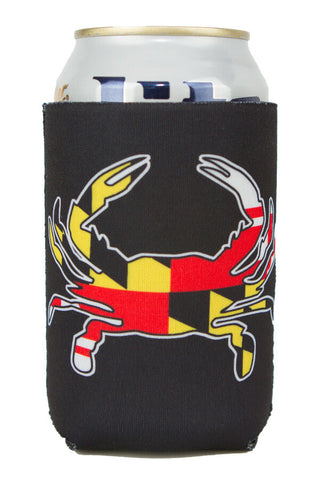 MD Flag Crab Can Koozie (black) - Annapolis Gear