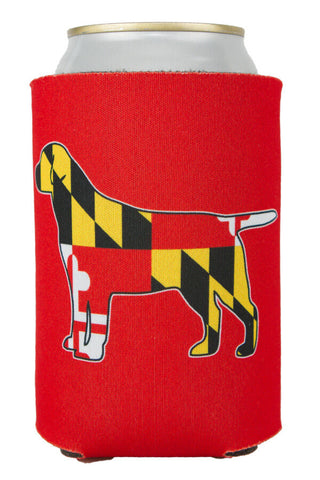 MD Flag Labrador Can Koozie (red) - Annapolis Gear