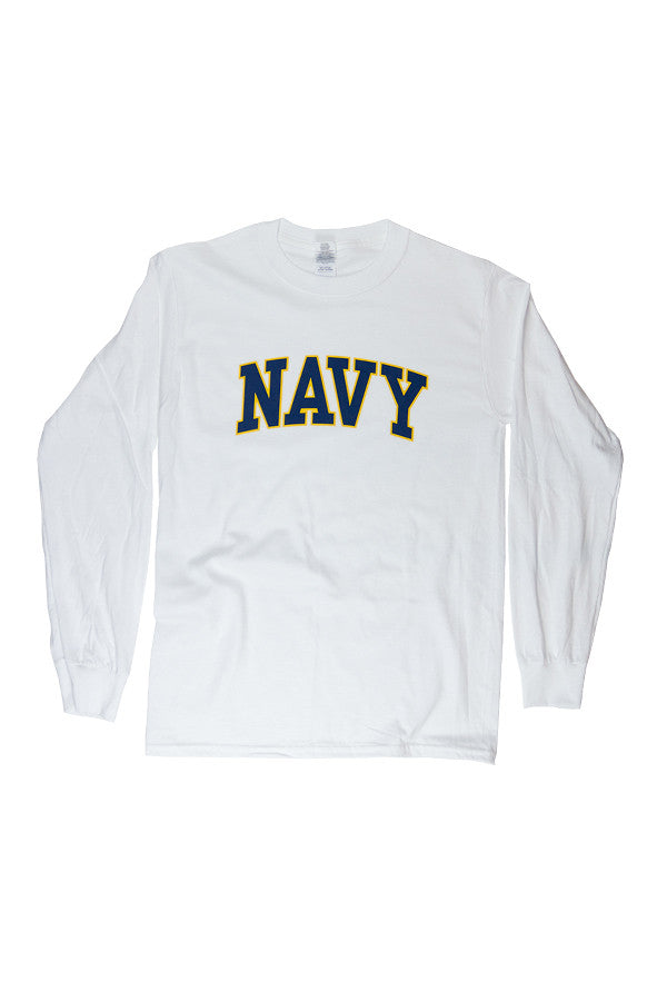 NAVY Arch Long Sleeve T-Shirt (white) - Annapolis Gear