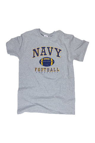 KIDS NAVY Football Distressed T-Shirt (grey) - Annapolis Gear