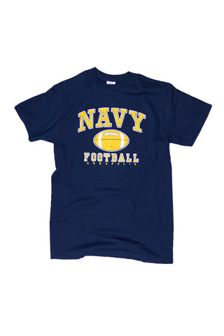 KIDS NAVY Football Distressed T-Shirt (navy) - Annapolis Gear