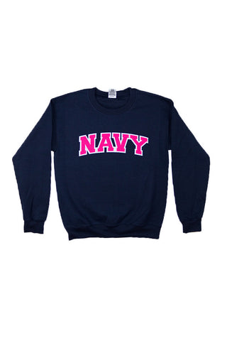 NAVY Arch Applique Crewneck Sweatshirt (navy) - Annapolis Gear