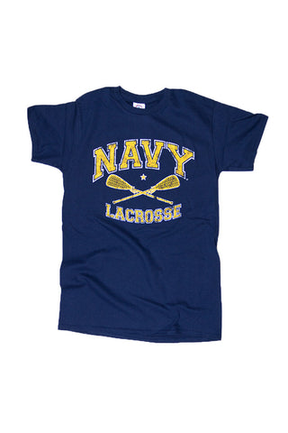 KIDS NAVY Lacrosse Distressed T-Shirt (navy) - Annapolis Gear