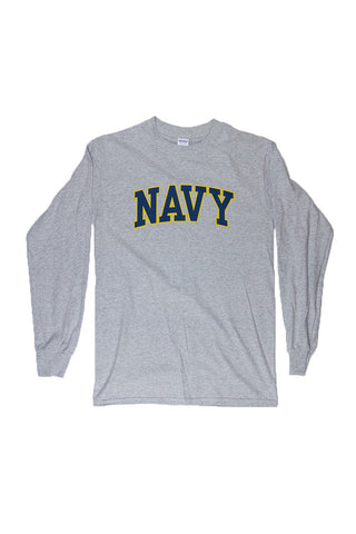 NAVY Arch Long Sleeve T-Shirt (grey) - Annapolis Gear