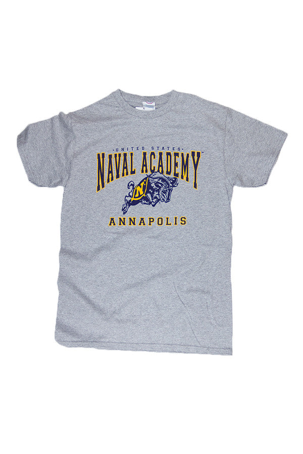 KIDS USNA Jumping Goat Annapolis T-Shirt (grey) - Annapolis Gear