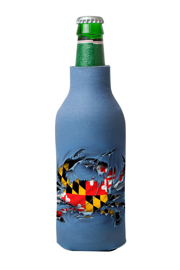 MD Flag Ripped Crab Bottle Koozie - Annapolis Gear