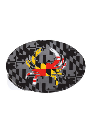 Oval Grey MD Flag Crab Decal - Annapolis Gear