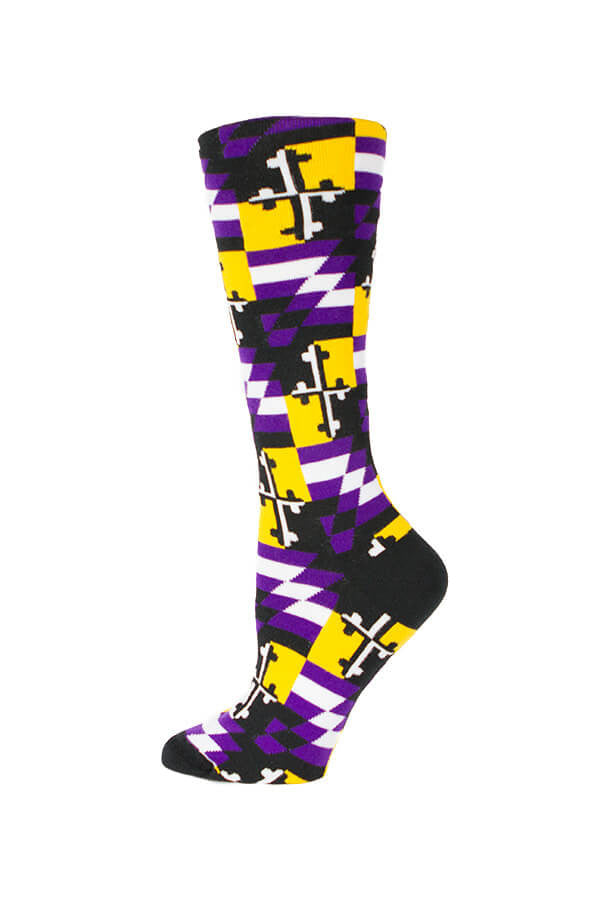 MD Flag Baltimore Football Check Knee High Sock - Annapolis Gear