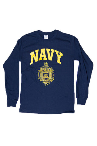USNA Crest Long Sleeve T-Shirt (navy) - Annapolis Gear