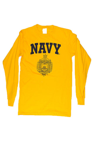 USNA Crest Long Sleeve T-Shirt (gold) - Annapolis Gear