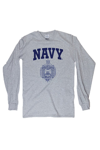 USNA Crest Long Sleeve T-Shirt (grey) - Annapolis Gear