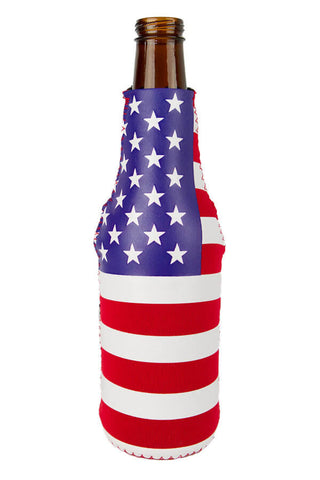 USA Flag Bottle Koozie w/Bottle Opener - Annapolis Gear - 1