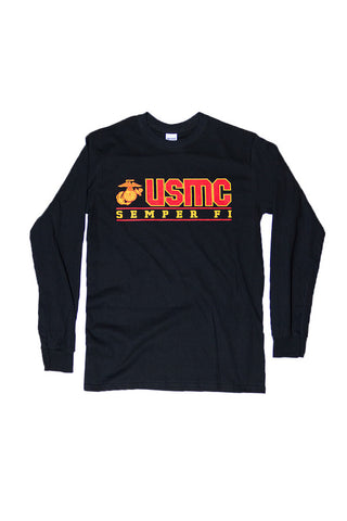 U.S. MARINES USMC Semper Fi Long Sleeve T-Shirt (black) - Annapolis Gear