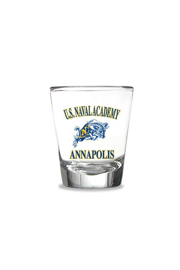 USNA Jumping Goat Shot Glass (clear) - Annapolis Gear