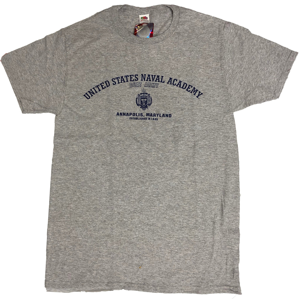 USNA Distressed Crest Beat Army T-Shirt (grey)