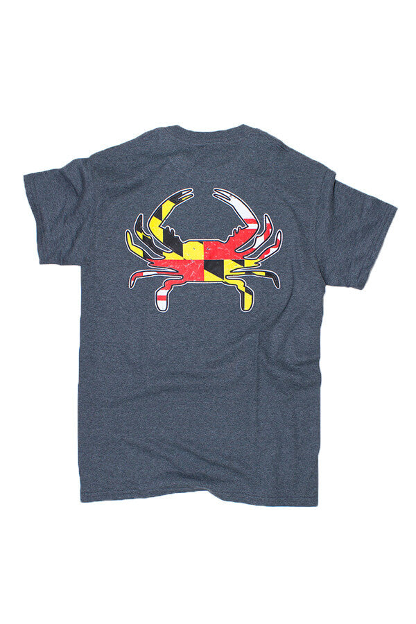MD Flag Crab T-Shirt (dark heather) - Annapolis Gear